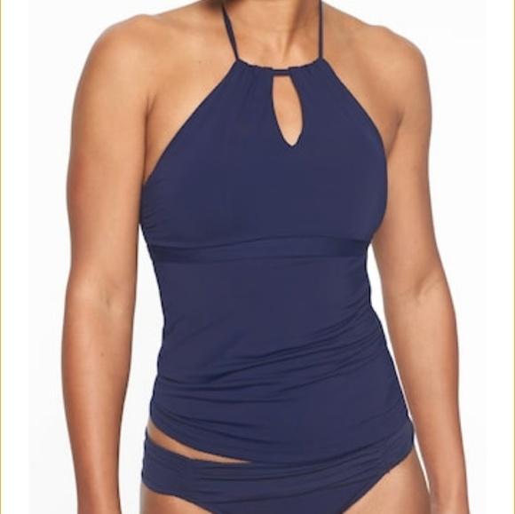 3e406bc51260b Athleta Swim | Dark Blue High Neck Keyhole Tankini Medium | Poshmark